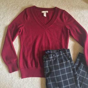 Banana Republic Fuschia V-Neck Sweater Wear 2 Work